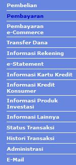 Menu Internet Banking BCA