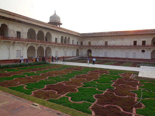 Intricate courtyard inside Red Fort
