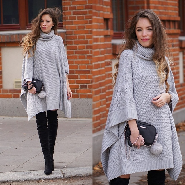 Niki Belle 2015 Fall Grey Long Sleeve Loose Sweater Poncho
