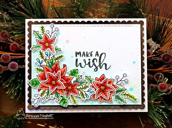 Floral Birthday Wishes Card by Larissa Heskett | Poinsettia Blooms Stamp Set by Newton's Nook Designs #newtonsnook #handmade