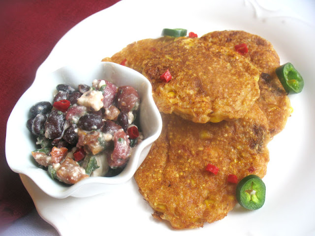Black Bean Salsa with Corn Pancakes