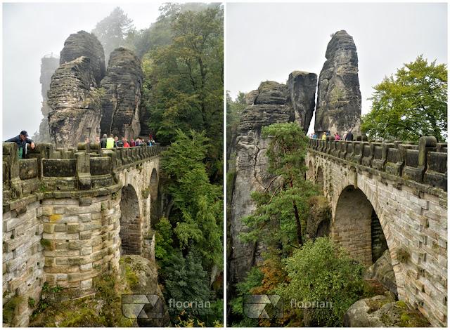 Most skalny Bastei - główna atrakcja turystyczna Szwajcarii Saksońskiej