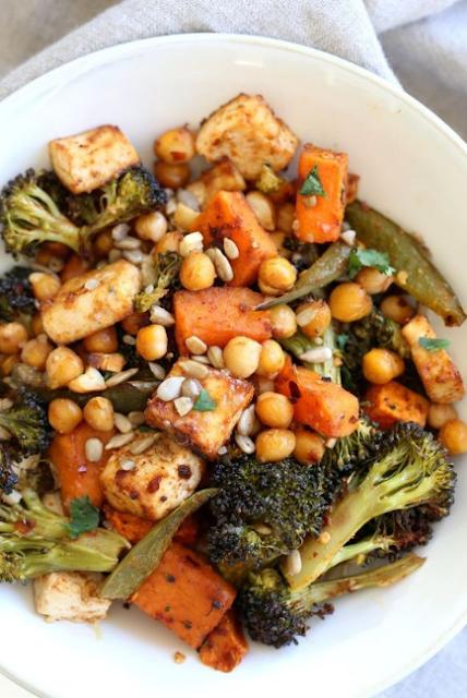 Sheet Pan Veggie Dinner with Broccoli, Sweet Potato, Tofu, Chickpeas & Miso Maple Dressing