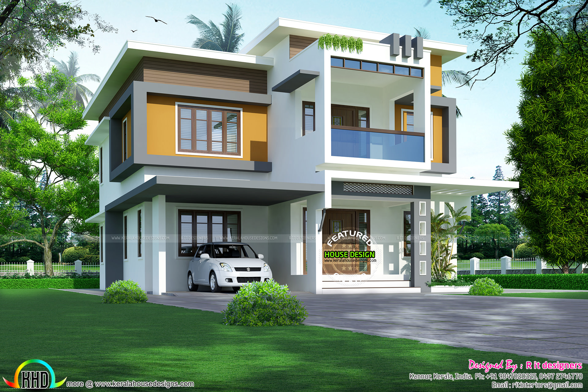 Colorful modern home plan 2400 sq ft kerala home design for Modern house plans 2400 sq ft