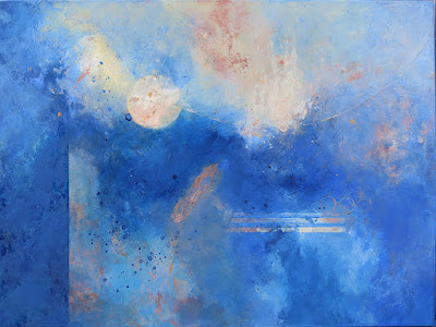 blue abstract painting by Santa Fe artist, Marianne Hornbuckle