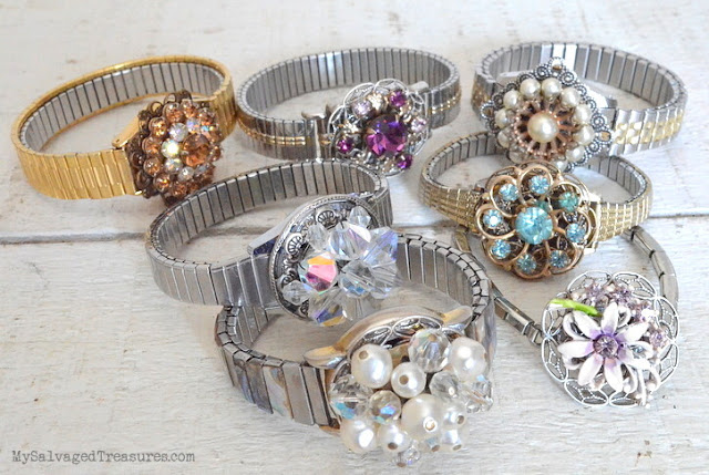 vintage earring and wrist watch bracelets repurposed jewelery