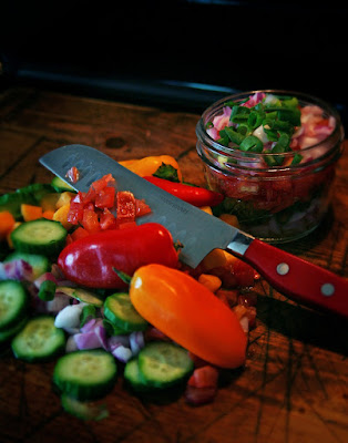 Fresh Salsa Ingredients: Tomatoes, Cucumbers, Onions, Peppers