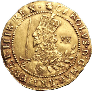 British Gold Coins Unite 20 Shillings or One Pound 1644 King Charles I
