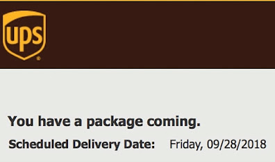Photograph of a UPS  delivery notifcation.