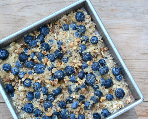 Easy Baked Oatmeal with Blueberries & Bananas ♥ KitchenParade.com, nutritious and ever-so-variable, sweetened with maple syrup or honey or sorghum or even a sugar-free syrup.