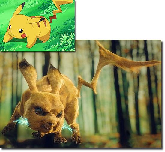 Personagens de desenhos como se fossem de carne e osso - Pikachu Pokémon