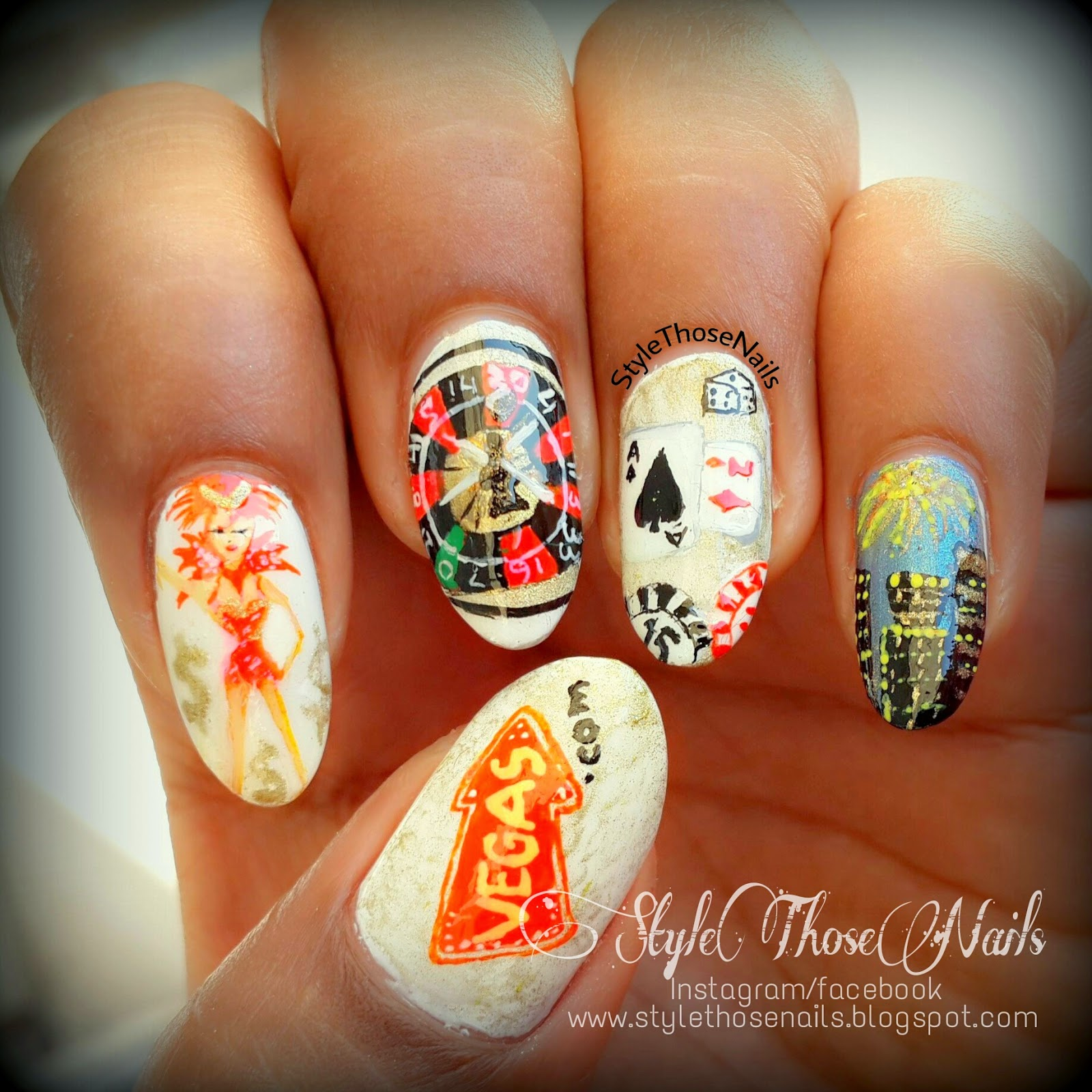 Luxury Las Vegas Themed Nail Art