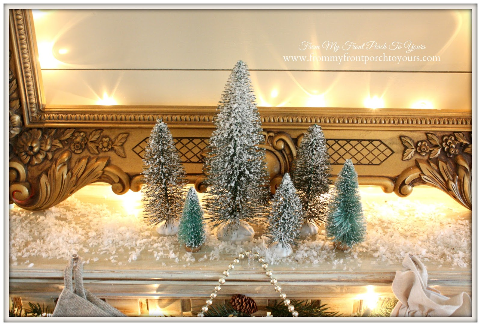 Bottle Brush Trees-Christmas Mantel 2014-French Farmhouse- From My Front Porch To Yours