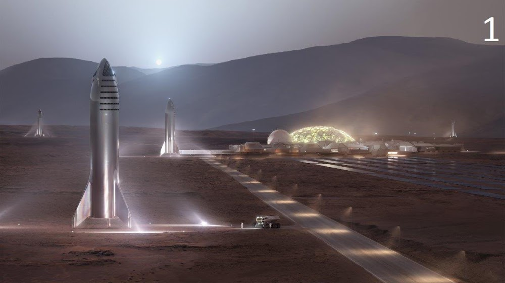Official render of SpaceX Starship at Mars Base Alpha