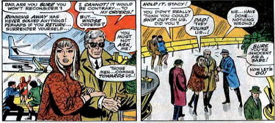 Amazing Spider-Man #61, don heck, john romita, gwen stacy and her father george seek to flee justice via the airport when the kingpin's goons show up to intercept them