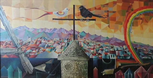 Rovira Brull pintura surrealista pájaros ciudad