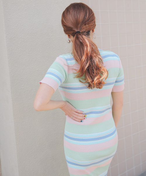 Slim Striped Midi Dress