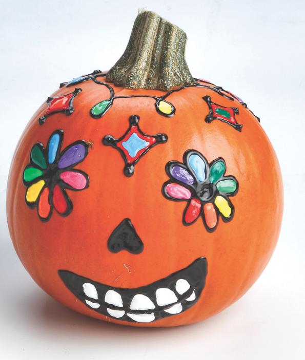 Sugar Skull Pumpkin & Crafts for Dia De Los Muertos