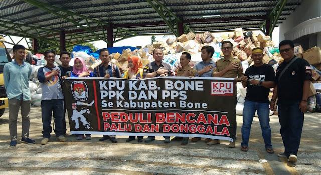 KPU Bone Sumbangkan ini Untuk Korban Gempa Tsunami Donggala, Palu dan Sigi