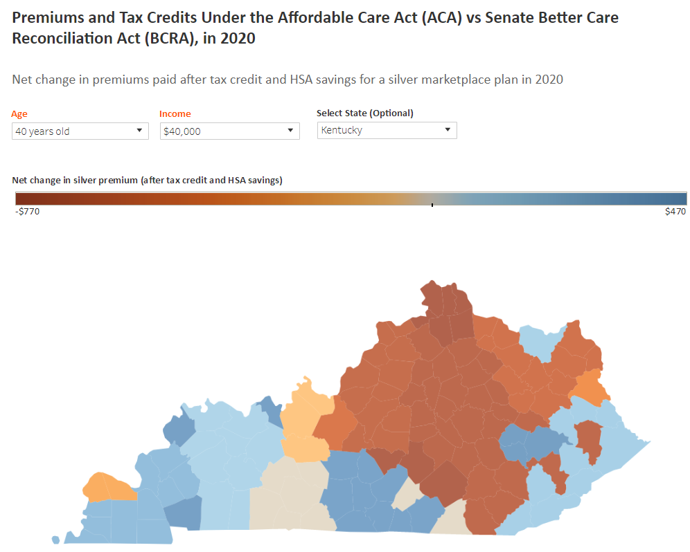 Kentucky Health News Interactive map gives estimated premiums under