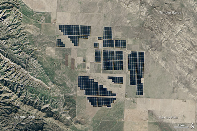 satellite image of solar farm in desert