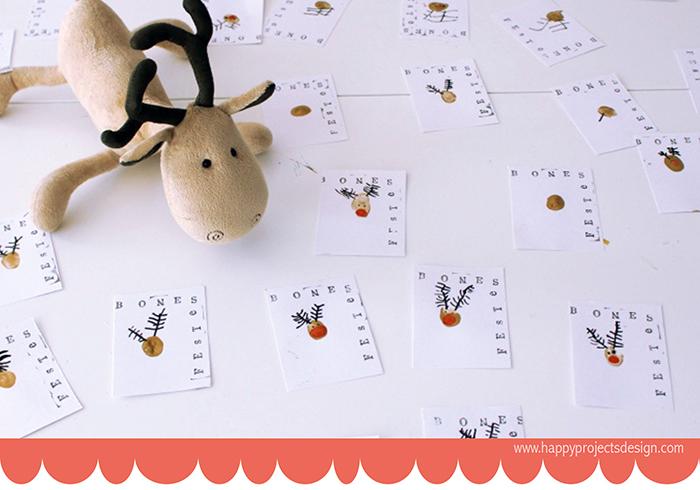 Felicitaciones navideñas handmade con huellas