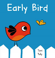 Early Bird book cover with bird and butterfly on a white fence
