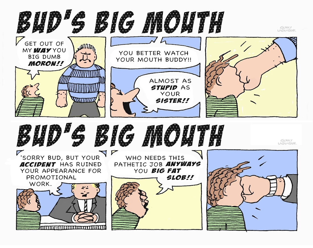 big mouth cartoon, business cartoon, Gerry Lagendyk