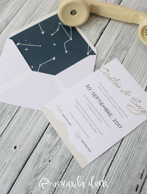 Invitación boda universo