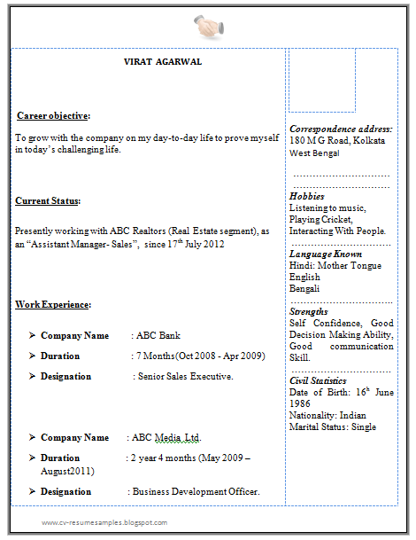 Resume Format For Experienced Bpo Professionals