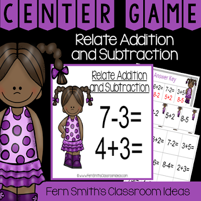 Second Grade Go Math 3.5 Relating Addition and Subtraction Center Game
