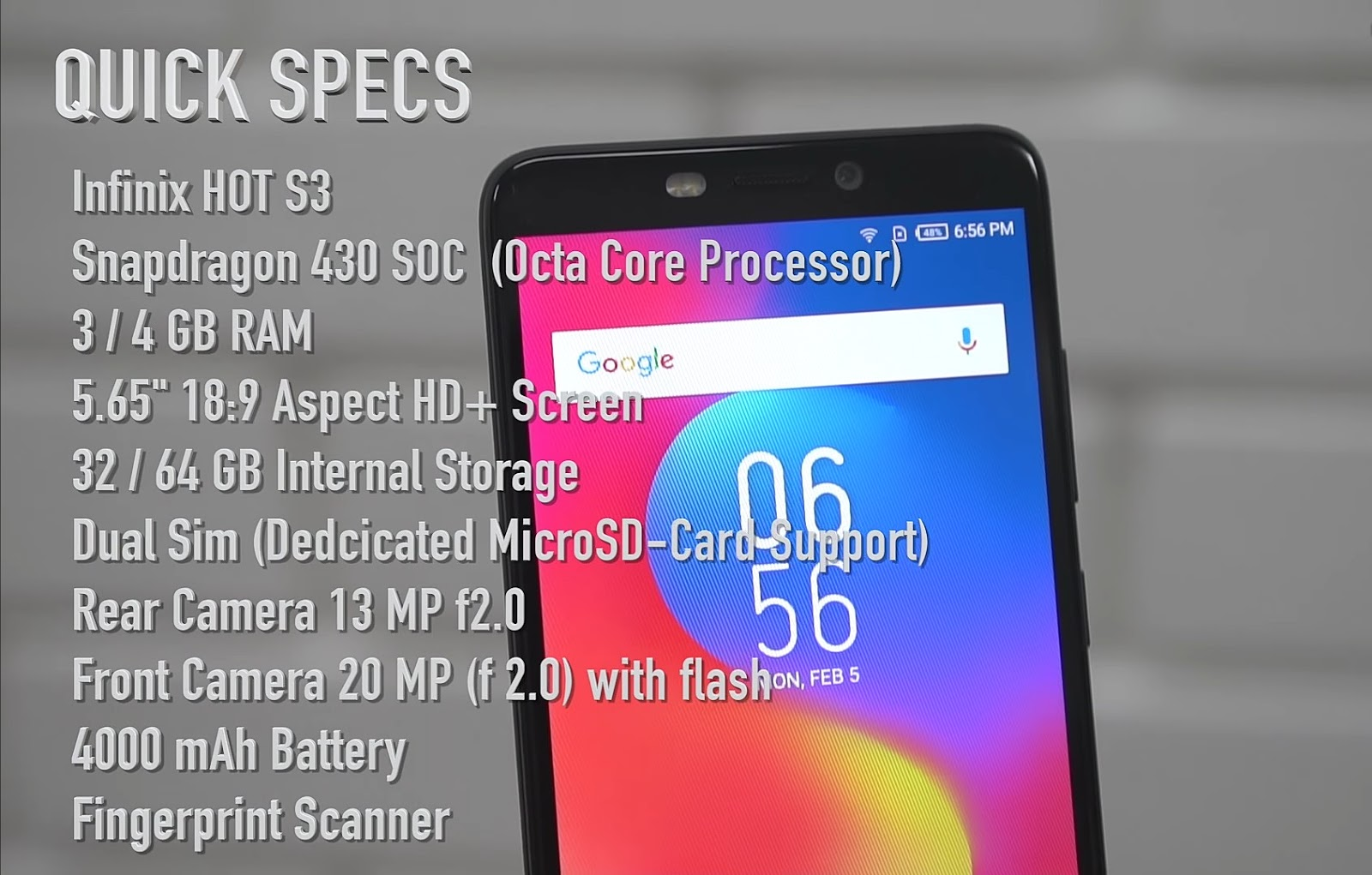 Infinix Hot S3 Full Specifications