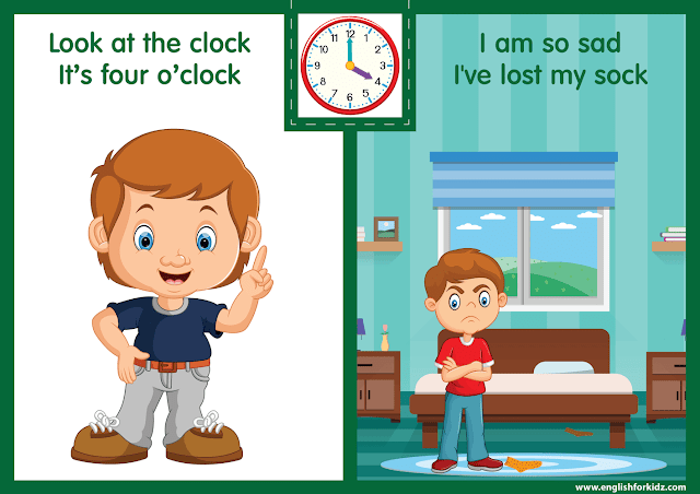 Telling the time worksheet - four o'clock on the clock - printable ESL resources
