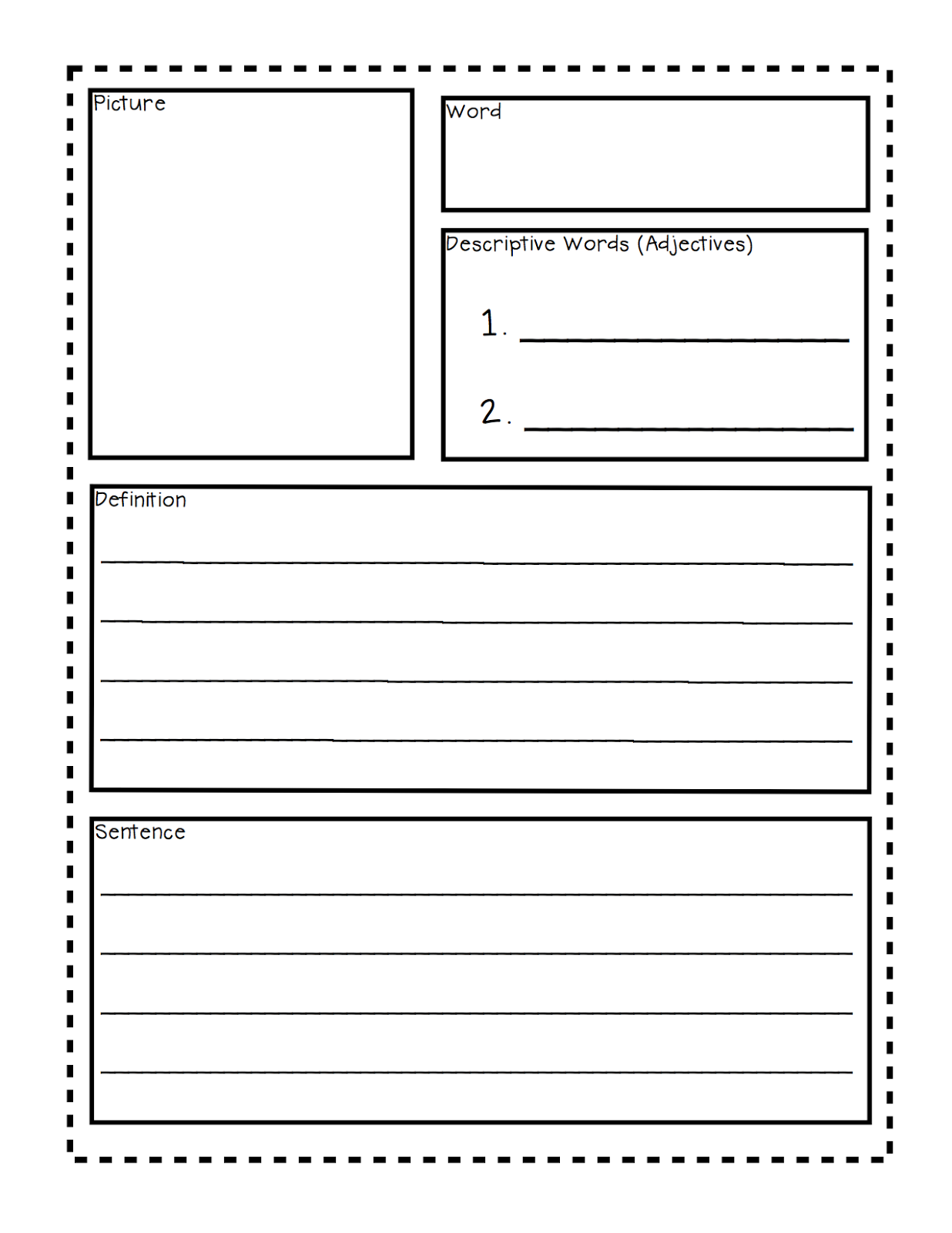 worksheet Blank Vocabulary Worksheets vocab template vocabulary sketches flashcard freeology classroom freebies too under the sea tiered templates