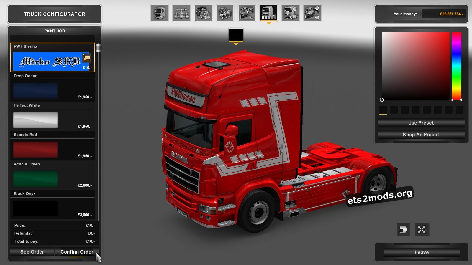 Scania RJL PWT Thermo Skin