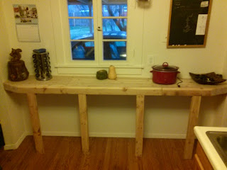Pine butcher block counter, initial state