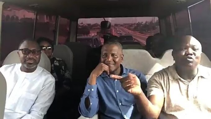Femi Otedola, Dangote & Ambode Pictured Inside A Bus To Inspect Projects