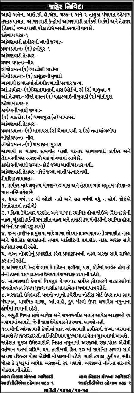 ICDS Dahegam Recruitment 2016
