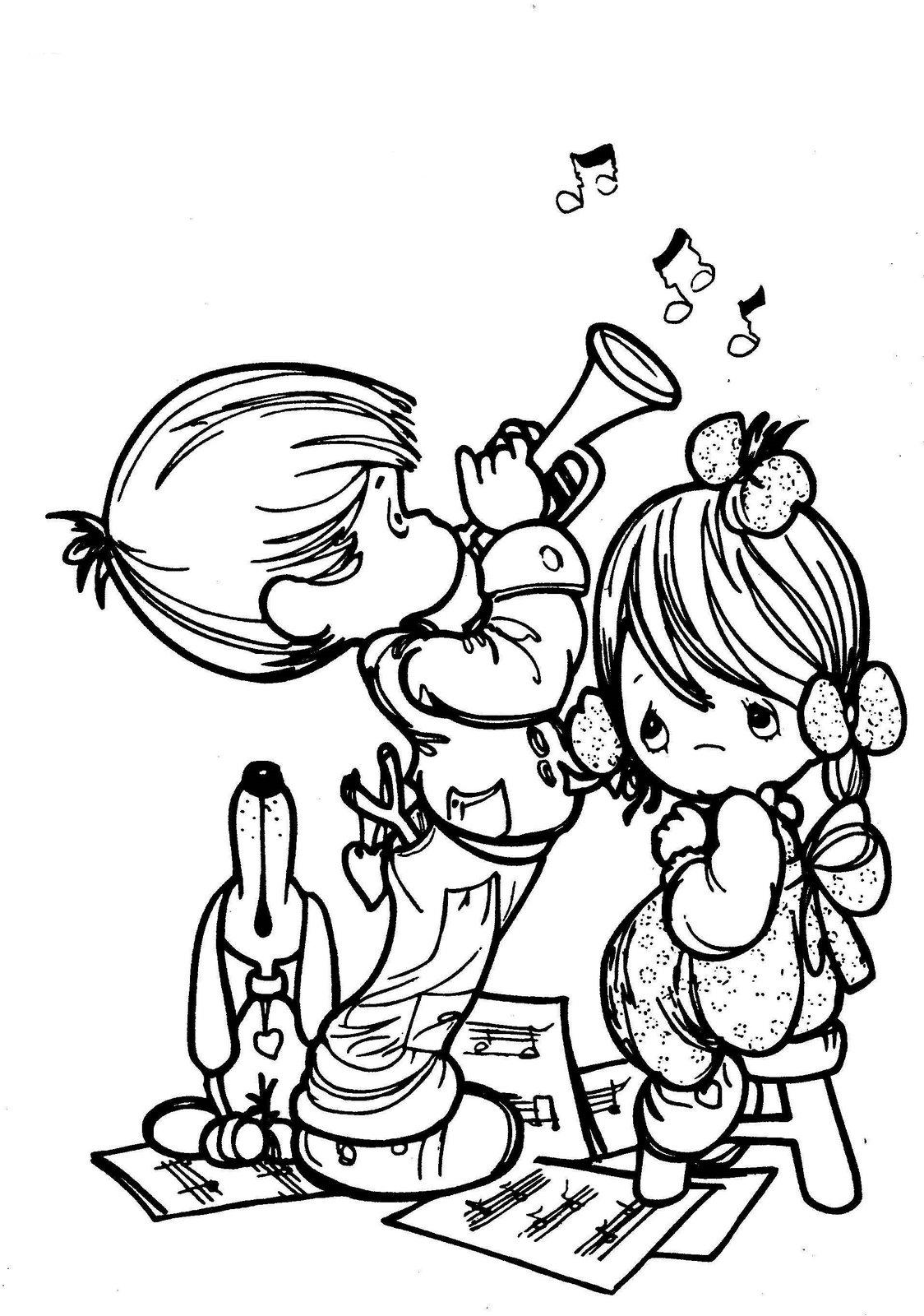 Precious Moments Drawings: Child coloring Musician ~ Child ...