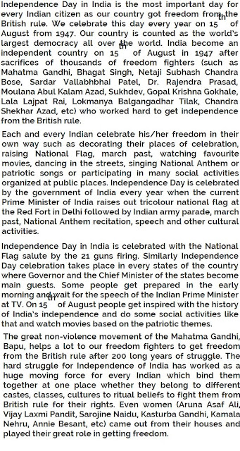 Independence Day Essay In English Pdf