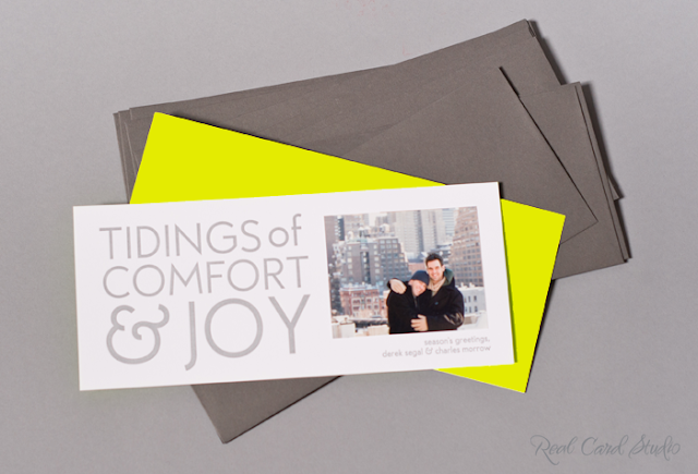 neon yellow, fluorescent, gray, silver, letterpress printing, gay couple, photo card