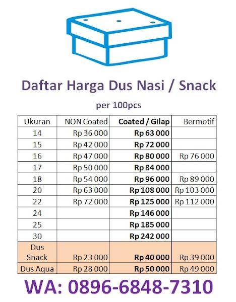 daftar harga dus nasi snack