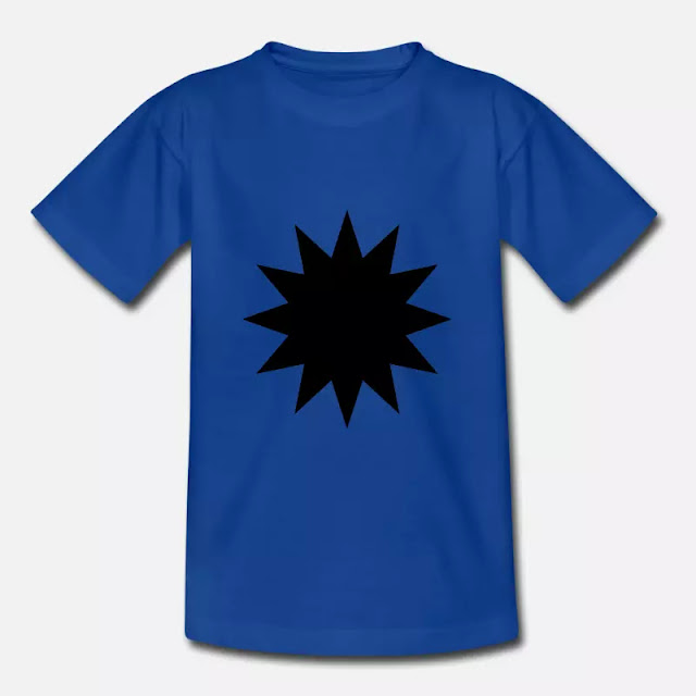 Kinder T-Shirt Schwarzer Stern Symbol Zeichen mit 12 Zacken