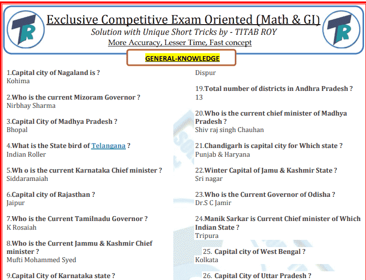 Gk Question In English Pdf