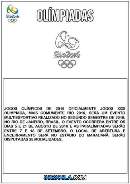 Jogos Olímpicos 2016 - Textos informativos Para Imprimir