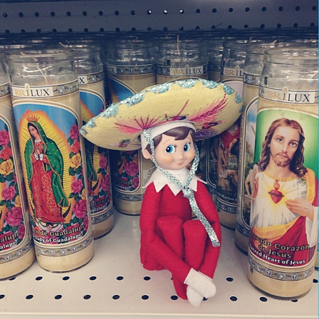Elf On The Shelf in Mexico with Charro Hat, great ideas
