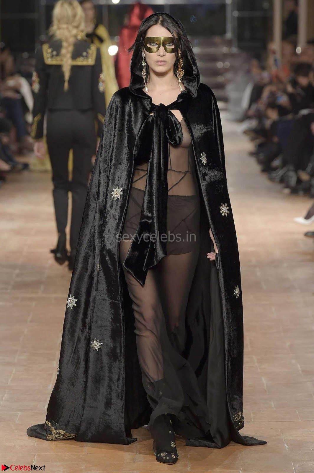 Bella Hadid Exposing her Beautiful Erect Nipples at Alberta Ferretti Fall 2017 Fashion Show in Milan