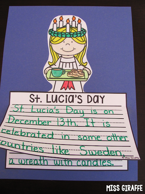 St. Lucia's Day writing craft activity and other fun Christmas around the world ideas