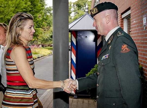 Queen Máxima wore a NATAN branded dress again which is her favorite brand  during visit to Defence Cyber Command in Hague