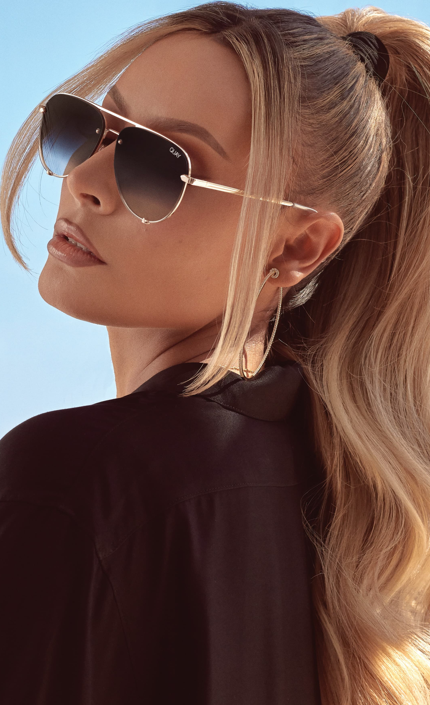 Quay x Desi Perkins High Key 53mm Rimless Aviator Sunglasses
